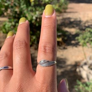 .925 Silver Angel Wing Ring Size 8.5